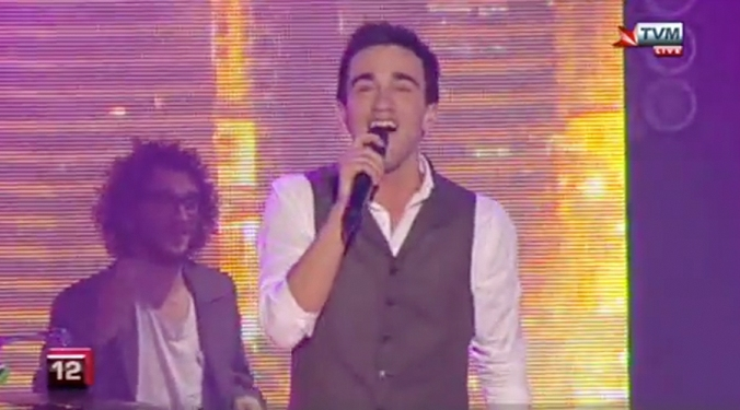 Gianluca Bezzina performing on the final night of the Malta Eurovision Song Contest.